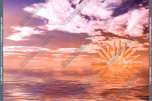 Colorful sunset over the ocean with a sun made from human fingers over cloudy sky crystal clear water Summer scenic digital art background
