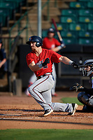 Mississippi Braves Ryan Casteel (26) bats during a Southern League game against the Jackson Generals on July 23, 2019 at The Ballpark at Jackson in Jackson, Tennessee.  Jackson defeated Mississippi 2-0 in the first game of a doubleheader.  (Mike Janes/Four Seam Images)