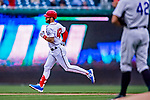 15 April 2018: Washington Nationals outfielder Bryce Harper rounds the bases after hitting a first inning solo home run to open the scoring against the Colorado Rockies at Nationals Park in Washington, DC. All MLB players wore Number 42 to commemorate the life of Jackie Robinson and to celebrate Black Heritage Day in pro baseball. The Rockies edged out the Nationals 6-5 to take the final game of their 4-game series. Mandatory Credit: Ed Wolfstein Photo *** RAW (NEF) Image File Available ***