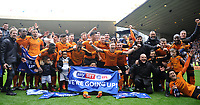 Wolverhampton Wanderers celebrates clinching promotion <br /> <br /> Photographer Ashley Crowden/CameraSport<br /> <br /> The EFL Sky Bet Championship - Wolverhampton Wanderers v Birmingham City - Sunday 15th April 2018 - Molineux - Wolverhampton<br /> <br /> World Copyright &copy; 2018 CameraSport. All rights reserved. 43 Linden Ave. Countesthorpe. Leicester. England. LE8 5PG - Tel: +44 (0) 116 277 4147 - admin@camerasport.com - www.camerasport.com