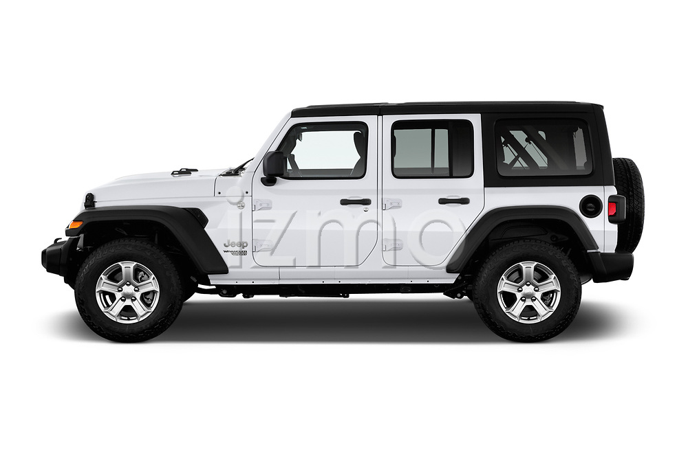 Car driver side profile view of a 2020 Jeep Wrangler Unlimited Sport 5 Door SUV