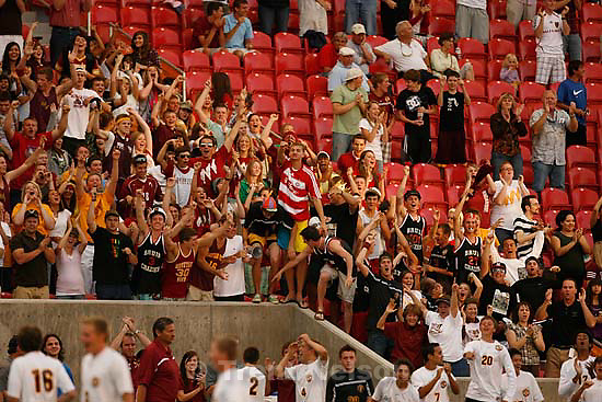 Sandy - Mountain View vs. Woods Cross High School boys soccer, 4A state championship game  Thursday May 21, 2009 at Rio Tinto Stadium..fans, Mountain View's Josue Cisneros goal