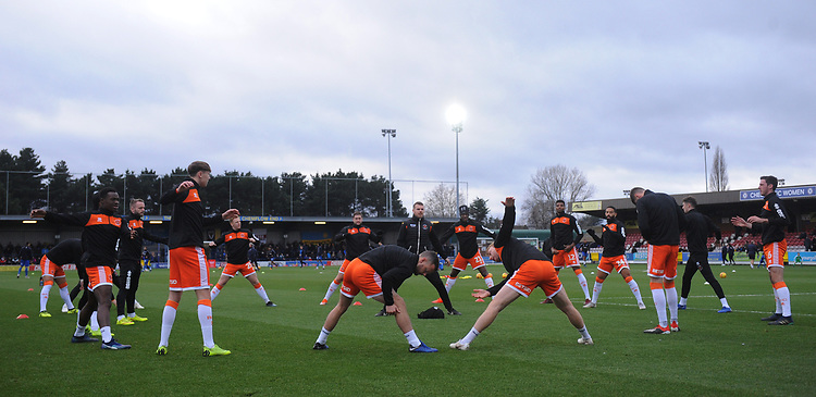 The Blackpool squad during the pre-match warm-up <br /> <br /> Photographer Kevin Barnes/CameraSport<br /> <br /> The EFL Sky Bet League One - AFC Wimbledon v Blackpool - Saturday 29th December 2018 - Kingsmeadow Stadium - London<br /> <br /> World Copyright © 2018 CameraSport. All rights reserved. 43 Linden Ave. Countesthorpe. Leicester. England. LE8 5PG - Tel: +44 (0) 116 277 4147 - admin@camerasport.com - www.camerasport.com