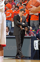 Dec. 07, 2010; Charlottesville, VA, USA;  Virginia Cavaliers head coach Tony Bennet reacts to a call during the game against the Radford Highlanders at the John Paul Jones Arena. Virginia won 54-44. Mandatory Credit: Andrew Shurtleff