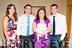 Baby Aioleann Collins with her parents Paul & Audrey Collins, Athea and god parents Louise Galvin & Jamie Collins who was christened in Irremore Church by Fr. Mossie Brick, PP Lixnaw on Saturday last and afterwards at the Listowel Arms Hotel.