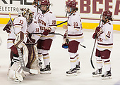 Katie Burt (BC - 33), Gabri Switaj (BC - 32), Ryan Little (BC - 20), Andie Anastos (BC - 23), Haley McLean (BC - 13) - The Boston College Eagles defeated the visiting University of Maine Black Bears 2-1 on Saturday, October 8, 2016, at Kelley Rink in Conte Forum in Chestnut Hill, Massachusetts.  The University of North Dakota Fighting Hawks celebrate their 2016 D1 national championship win on Saturday, April 9, 2016, at Amalie Arena in Tampa, Florida.