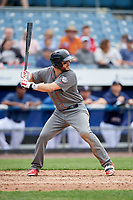 Lehigh Valley IronPigs third baseman Trevor Plouffe (19) at bat during a game against the Syracuse Chiefs on May 20, 2018 at NBT Bank Stadium in Syracuse, New York.  Lehigh Valley defeated Syracuse 5-2.  (Mike Janes/Four Seam Images)