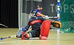 Almere - Zaalhockey  Laren-SCHC (heren)   .  keeper Matthijs Odekerken (SCHC)   .TopsportCentrum Almere.    COPYRIGHT KOEN SUYK