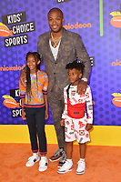 P. J. Tucker, Aaliyah Tucker & King Tucker at the Nickelodeon Kids' Choice Sports Awards 2018 at Barker Hangar, Santa Monica, USA 19 July 2018<br /> Picture: Paul Smith/Featureflash/SilverHub 0208 004 5359 sales@silverhubmedia.com