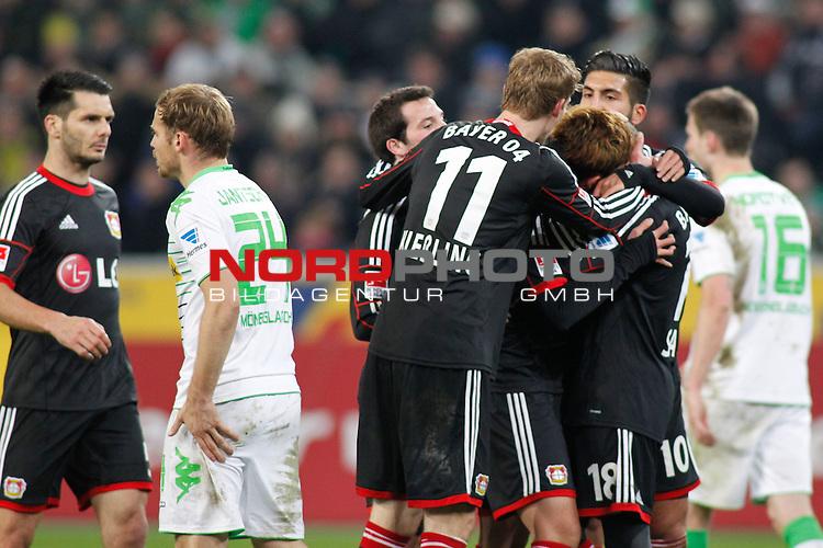 07.02.2014, BorussiaPark , Moenchengladbach, GER, 1.FBL, Borussia Moenchengladbach vs Bayer Leverkusen, im Bild: Stefan Kiessling #11 (Bayer 04 Leverkusen), Emre Can #10 (Bayer 04 Leverkusen), Sidney Sam #18 (Bayer 04 Leverkusen) und Heung-Min Son #7 (Bayer 04 Leverkusen) freuen sich nach dem 0:1<br /> <br /> Foto &copy; nordphoto / Grimme
