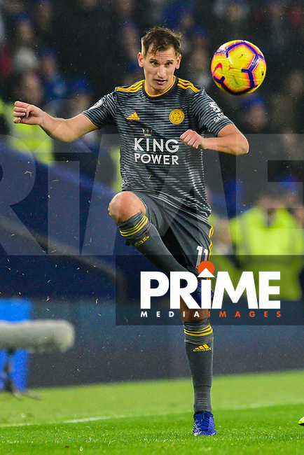 Marc Albrighton of Leicester City (11) during the Premier League match between Brighton and Hove Albion and Leicester City at the American Express Community Stadium, Brighton and Hove, England on 24 November 2018. Photo by Edward Thomas / PRiME Media Images.