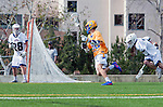 Los Angeles, CA 02-26-17 - Givino Rossini (Loyola Marymount #7), Giovanny Escobar (Loyola Marymount #30) and Casey Mix (UCSB #38) in action during the MCLA conference game between LMU and UC Santa Barbara.  Santa Barbara defeated LMU 15-0.