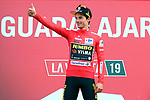 Race leader Primoz Roglic (SLO) Team Jumbo-Visma retains the Red Jersey at the end of Stage 17 of La Vuelta 2019, the fastest stage ever in the history of Grand Tours at 50.6km/h, running 219.6km from Aranda de Duero to Guadalajara, Spain. 11th September 2019.<br /> Picture: Luis Angel Gomez/Photogomezsport | Cyclefile<br /> <br /> All photos usage must carry mandatory copyright credit (© Cyclefile | Luis Angel Gomez/Photogomezsport)