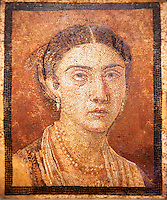Roman Mosaic portrait of a women from Pompei Archaeological Site. Naples Archaeological Museum inv 124666