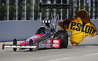 Nov 13, 2010; Pomona, CA, USA; NHRA top fuel dragster driver Dom Lagana during qualifying for the Auto Club Finals at Auto Club Raceway at Pomona. Mandatory Credit: Mark J. Rebilas-