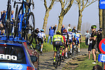 The breakaway group climb Paddestraat during the 2019 E3 Harelbeke Binck Bank Classic 2019 running 203.9km from Harelbeke to Harelbeke, Belgium. 29th March 2019.<br /> Picture: Eoin Clarke | Cyclefile<br /> <br /> All photos usage must carry mandatory copyright credit (© Cyclefile | Eoin Clarke)
