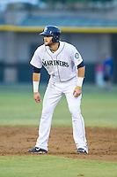Taylor Zeutenhorst (60) of the Pulaski Mariners takes his lead off of second base against the Burlington Royals at Calfee Park on June 20, 2014 in Pulaski, Virginia.  The Mariners defeated the Royals 6-4. (Brian Westerholt/Four Seam Images)