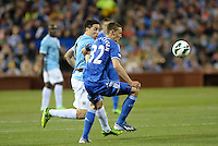 Andreas Christensen (32) Chelsea holds off Samir Nasri (8) Manchester City..Manchester City defeated Chelsea 4-3 in an international friendly at Busch Stadium, St Louis, Missouri.