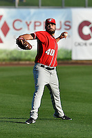 Albuquerque Isotopes starting pitcher Harrison Musgrave (40) warms up in the outfield before the game against the Salt Lake Bees in Pacific Coast League action at Smith's Ballpark on August 30, 2016 in Salt Lake City, Utah. The Bees defeated the Isotopes 3-2. (Stephen Smith/Four Seam Images)
