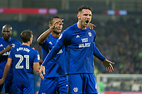 Cardiff captain Sean Morrison celebrates his side's third goal during the Sky Bet Championship match between Cardiff City and Leeds United at the Cardiff City Stadium, Cardiff, Wales on 26 September 2017. Photo by Mark  Hawkins / PRiME Media Images.