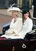 "TROOPING THE COLOUR 2011..Catherine, The Duchess of Cambridge at her first Trooping the Colour.The Duchess of Cambridge shared a carriage with The Duchess of Cornwall, Prince Harry and the Duke of York. Prince William accompanied his Farther Prince Charles on horse back for the first time along with Princess Anne and the Duke of Kent.The Second carriage was occupied by The Count and Countess of Wessex, Lady Louise and Princess Eugenie_Buckingham Palace, London_11/06/2011..Mandatory Photo Credit: ©Dias/Newspix International..**ALL FEES PAYABLE TO: ""NEWSPIX INTERNATIONAL""**..PHOTO CREDIT MANDATORY!!: NEWSPIX INTERNATIONAL(Failure to credit will incur a surcharge of 100% of reproduction fees)..IMMEDIATE CONFIRMATION OF USAGE REQUIRED:.Newspix International, 31 Chinnery Hill, Bishop's Stortford, ENGLAND CM23 3PS.Tel:+441279 324672  ; Fax: +441279656877.Mobile:  0777568 1153.e-mail: info@newspixinternational.co.uk"