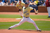 Starting pitcher Brandon Cumpton #28 of the Georgia Tech Yellow Jackets in action versus the Florida State Seminoles at Durham Bulls Athletic Park May 23, 2009 in Durham, North Carolina.  (Photo by Brian Westerholt / Four Seam Images)