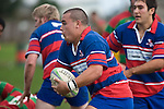 Suli Taufelele takes the ball forward. Counties Manukau Premier rugby game between Waiuku & Ardmore Marist played at Waiuku on Saturday May 10th 2008..Ardmore Marist won 27 - 6 after leading 10 - 6 at halftime.