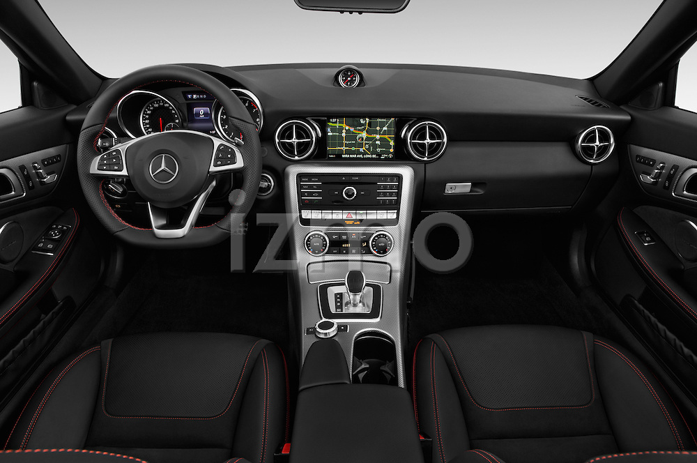 Stock photo of straight dashboard view of 2018 Mercedes Benz SLC-Roadster AMG-SLC43 2 Door Convertible Dashboard