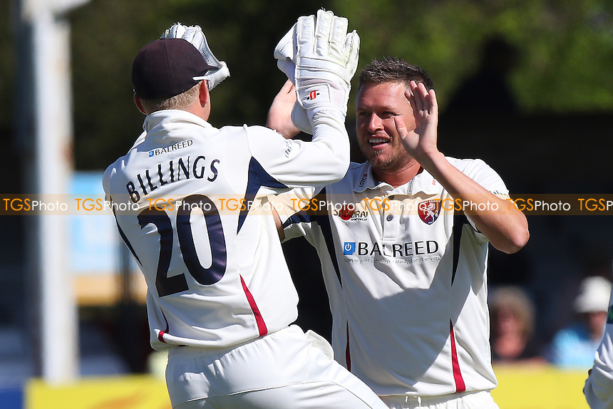 Mitch Claydon of Kent (R) celebrates the wicket of Daniel Lawrence - Essex CCC vs Kent CCC - LV County Championship Division Two Cricket at the Essex County Ground, Chelmsford, Essex - 21/04/15 - MANDATORY CREDIT: TGSPHOTO - Self billing applies where appropriate - contact@tgsphoto.co.uk - NO UNPAID USE
