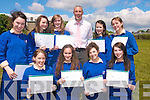 Pictured with Kerry Footballer Kieran Donaghy are students from St Brigid's secondary school who were awarded for their contribution to school life. .Julianna Crowley, Kate Looney, Naomi O Connell.Cliodna O Donoghue , Laura Herlihy, Mairead O Sullivan, Chloe Goulding Norita Cashman and .Aisling Brennen