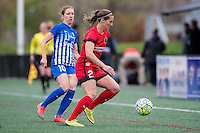 Allston, MA - Sunday, May 1, 2016:  Boston Breakers midfielder Louise Schillgard (10) and Portland Thorns FC defender Katherine Reynolds (2) in a match at Harvard University.