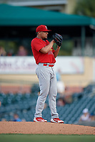 Palm Beach Cardinals starting pitcher Jesus Cruz (38) looks in for the sign during a game against the Jupiter Hammerheads on August 4, 2018 at Roger Dean Chevrolet Stadium in Jupiter, Florida.  Palm Beach defeated Jupiter 7-6.  (Mike Janes/Four Seam Images)