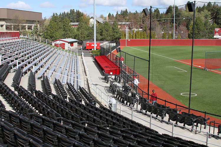 A view from the press box, looking towards the WSU dugout at Bailey-Brayton Field, the baseball home of the Washington State Cougars baseball team, on the campus of Washington State University in Pullman, Washington.