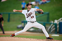 Frederick Keys starting pitcher Lucas Humpal (49) delivers a pitch during the second game of a doubleheader against the Lynchburg Hillcats on June 12, 2018 at Nymeo Field at Harry Grove Stadium in Frederick, Maryland.  Frederick defeated Lynchburg 8-1.  (Mike Janes/Four Seam Images)