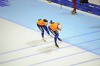 SCHAATSEN: HEERENVEEN: IJsstadion Thialf, 15-11-2012, World Cup Training, Seizoen 2012-2013, Mayon Kuipers, Margot Boer, ©foto Martin de Jong