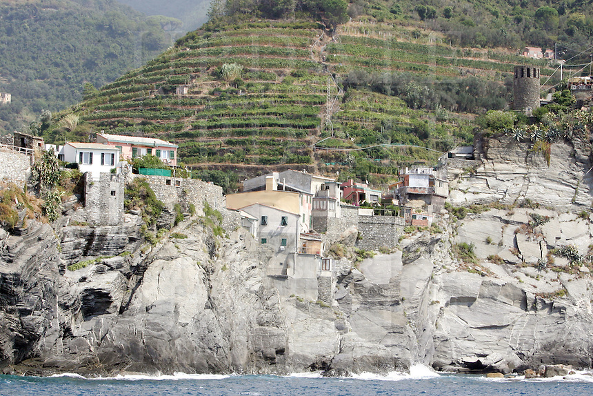Uno scorcio di Manarola, uno dei borghi delle Cinque Terre, sormontata dai vigneti.<br /> Vineyards are seen past the village of Manarola at the Cinque Terre.<br /> UPDATE IMAGES PRESS/Riccardo De Luca