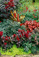 Red garden design with rock border, Missouri USA