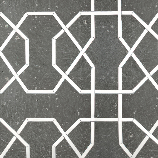 Collins, a waterjet stone mosaic, shown in brushed Basalto and Aluminum, is part of the Trove Collection for New Ravenna.