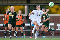 TCU forward Emma Heckendorn (22) attempts to control the ball during first half of NCAA soccer game, Friday, October 03, 2014 in Waco, Tex. TCU and Baylor are tied 1-1 at the halftime. (Mo Khursheed/TFV Media via AP Images)