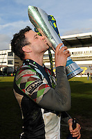 20130317 Copyright onEdition 2013©.Free for editorial use image, please credit: onEdition..Karl Dickson of Harlequins kisses the trophy after winning the LV= Cup Final between Harlequins and Sale Sharks at Sixways Stadium on Sunday 17th March 2013 (Photo by Rob Munro)..For press contacts contact: Sam Feasey at brandRapport on M: +44 (0)7717 757114 E: SFeasey@brand-rapport.com..If you require a higher resolution image or you have any other onEdition photographic enquiries, please contact onEdition on 0845 900 2 900 or email info@onEdition.com.This image is copyright onEdition 2013©..This image has been supplied by onEdition and must be credited onEdition. The author is asserting his full Moral rights in relation to the publication of this image. Rights for onward transmission of any image or file is not granted or implied. Changing or deleting Copyright information is illegal as specified in the Copyright, Design and Patents Act 1988. If you are in any way unsure of your right to publish this image please contact onEdition on 0845 900 2 900 or email info@onEdition.com