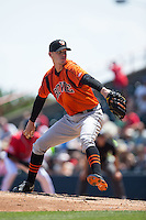 Bowie Baysox starting pitcher Parker Bridwell (27) in action against the Richmond Flying Squirrels at The Diamond on May 24, 2015 in Richmond, Virginia.  The Flying Squirrels defeated the Baysox 5-2.  (Brian Westerholt/Four Seam Images)