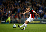 Paul Coutts of Sheffield Utd shoots during the Championship match at the Cardiff City Stadium, Cardiff. Picture date: August 15th 2017. Picture credit should read: Simon Bellis/Sportimage