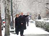 United States President George W. Bush and first lady Laura Bush arrive at Saint John's Church in Washington, D.C. on January 30, 2005 for Sunday services.<br /> Credit: Greg E. Mathieson / Pool via CNP