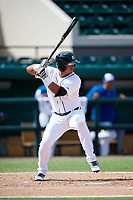 Detroit Tigers Anthony Pereira (68) at bat during an Instructional League game against the Toronto Blue Jays on October 12, 2017 at Joker Marchant Stadium in Lakeland, Florida.  (Mike Janes/Four Seam Images)