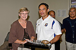 Bay of Plenty coach Darrell Going receives the Pat Walsh Award from Noeline Walsh on behalf of Dallas Cole. 20th Northern Redion Maori Rugby Tournament held at Ardmore Marist Rugby Football Club, Feb 29th - 1st Mar, 2008