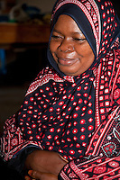 Jambiani, Zanzibar, Tanzania.  Muslim African Woman.
