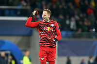 Peter Gulacsi of RB Leipzig /celebrates the third goal during RB Leipzig vs Tottenham Hotspur, UEFA Champions League Football at the Red Bull Arena on 10th March 2020