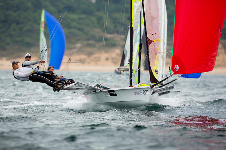 SANTANDER, SPAIN - SEPTEMBER 16:  49er - USA150 - Brad Funk / Trevor Burd in action during Day 5 of the 2014 ISAF Sailing World Championships on September 16, 2014 in Santander, Spain.  (Photo by MickAnderson/SAILINGPIX via Getty Images)