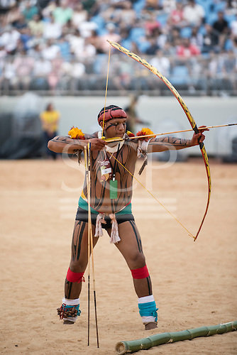 A Kamayura archer takes aim during the International Indigenous Games, in the city of Palmas, Tocantins State, Brazil. Photo © Sue Cunningham, pictures@scphotographic.com 25th October 2015