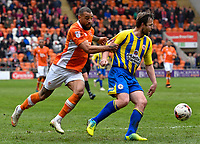 Accrington Stanley's Mark Hughes under pressure from Blackpool's Kyle Vassell<br /> <br /> Photographer Terry Donnelly/CameraSport<br /> <br /> The EFL Sky Bet League Two - Blackpool v Accrington Stanley - Friday 14th April 2017 - Bloomfield Road - Blackpool<br /> <br /> World Copyright &copy; 2017 CameraSport. All rights reserved. 43 Linden Ave. Countesthorpe. Leicester. England. LE8 5PG - Tel: +44 (0) 116 277 4147 - admin@camerasport.com - www.camerasport.com